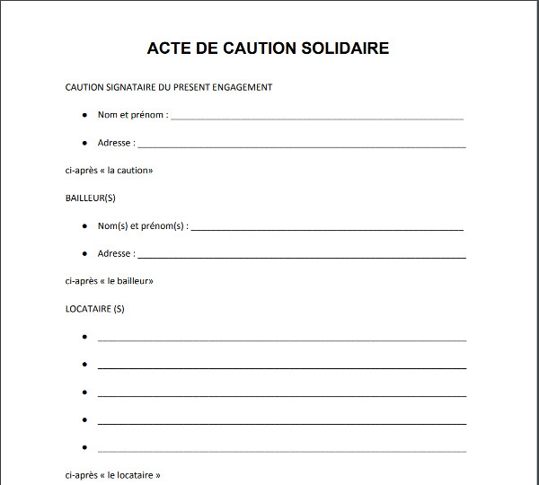 Acte De Caution Screenshot