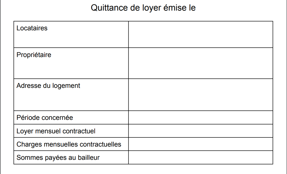 quittance screenshot