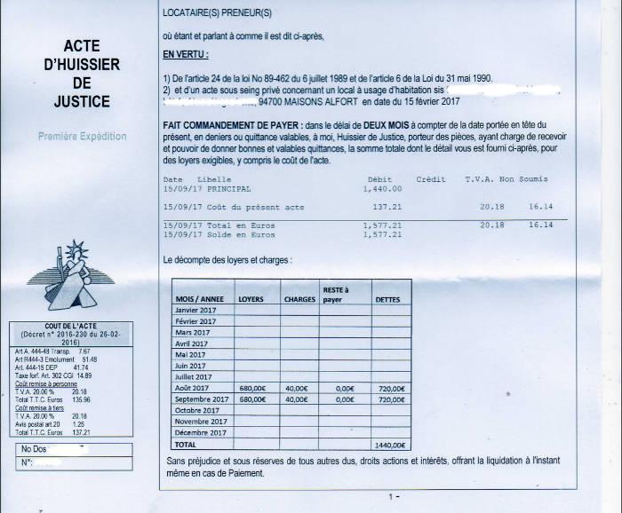 Résiliation de bail par le propriétaire pour non paiement de loyer