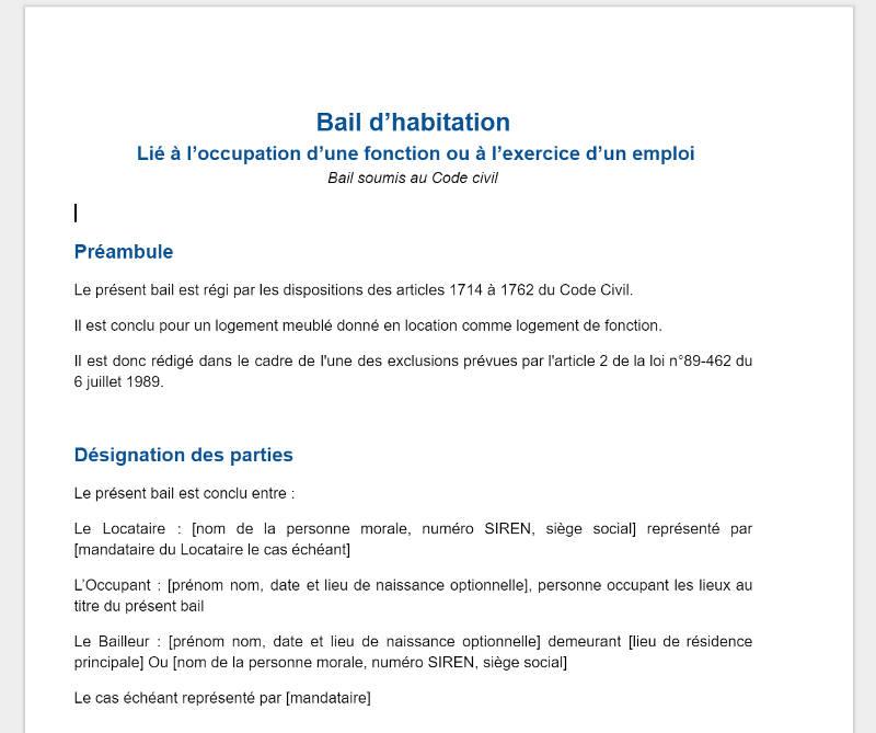 Logement De Fonction Bail Societe Modele 2020